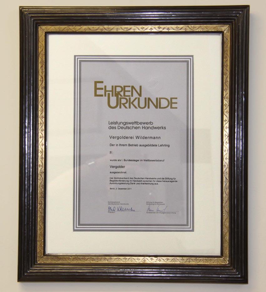 Ehrenurkunde des Deutschen Handwerks